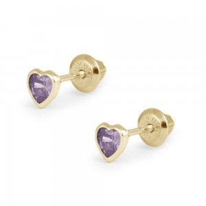 Girl's 14K Yellow Gold June Birthstone Heart Screw Back Earrings