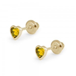 Girl's 14K Yellow Gold November Birthstone Heart Screw Back Earrings