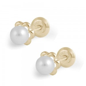 Girl's 14K Yellow Gold White Cultured Pearl Flower Screw Back Earring Studs