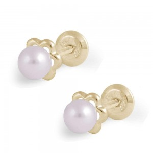 Girl's 14K Yellow Gold Pink Cultured Pearl Flower Screw Back Earring Studs