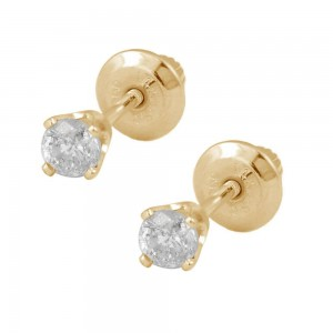 Girls 14K Yellow Gold 0.18 CTW Diamond Screw Back Stud Earrings