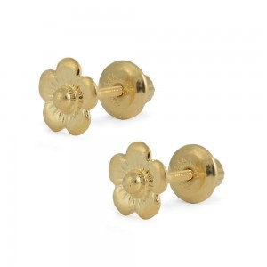 Girls Jewelry - 14 Yellow Gold Flower Shaped Screw Back Stud Earrings