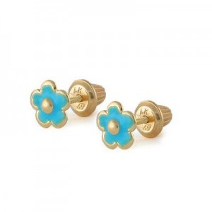 Girls Jewelry - 14K Yellow Gold Blue Flower Screw Back Stud Earrings