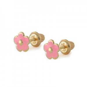 Girls Jewelry - 14K Yellow Gold Pink Flower Screw Back Stud Earrings