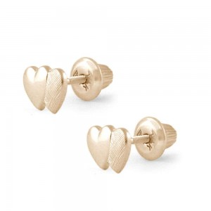 Girl Jewelry - 14K Yellow Gold Double Hearts Screw Back Stud Earrings