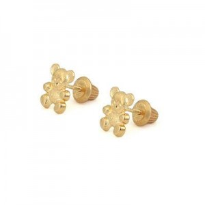 14K Yellow Gold Teddy Bear Screw Back Stud Earrings For Little Girls