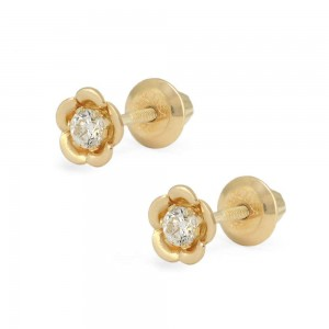 Little Girl 14K Yellow Gold CZ Flower Shaped Screw Back Stud Earrings