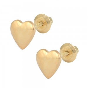 14K Yellow Gold Heart Shaped Screw Back Stud Earrings for Girls