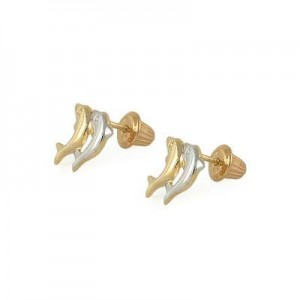Children's 14K Two-Tone Gold Double Dolphin Stud  Screw Back Earrings