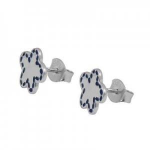 Sterling Silver Blue Enamel Flower Post Earrings For Girls