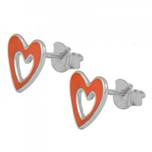 Silver Orange Enameled Cutout Heart Children & Teenagers Earrings