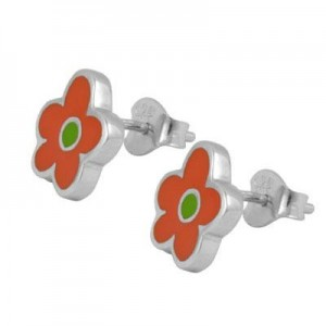 Kids & Teens Jewelry - Silver Orange Enameled Flower Earrings