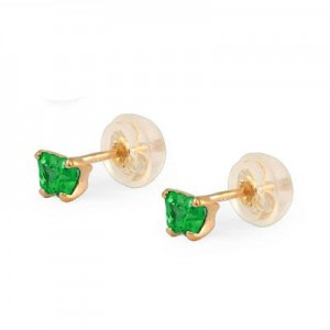 Baby 14K Yellow Gold Emerald C.Z. Butterfly Stud Earrings