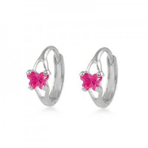 Baby 14K White Gold Huggie Hoop Earrings With Ruby C.Z. Butterfly