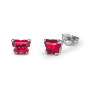 Children 14K White Gold Ruby C.Z. Butterfly Stud Earrings