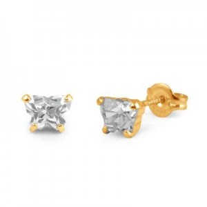 Children 14K Yellow Gold Cubic Zirconia Butterfly Stud Earrings