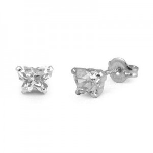 Children Sterling Silver Cubic Zirconia Butterfly Stud Earrings