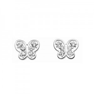 Kids Jewelry - Sterling Silver C.Z. Butterfly Stud Earrings For Girls