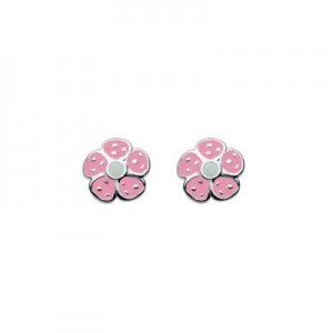 Sterling Silver Pink Enameled Flower Earrings For Girls