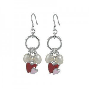 Teen Jewelry For Girls - Silver Enameled Heart Cultured Pearl Hook On Earrings