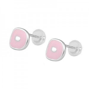 Kids Jewelry - Silver Color Enameled Initial D Silicone Back Earrings