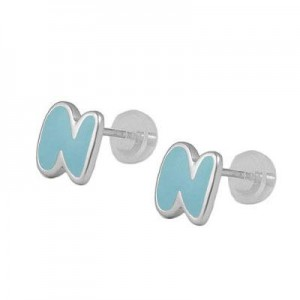 Kids Jewelry - Silver Color Enameled Initial N Silicone Back Earrings