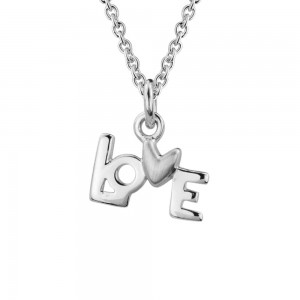 Kids Jewelry - Sterling Silver LOVE Pendant Necklace For Girls (14, 15 in)