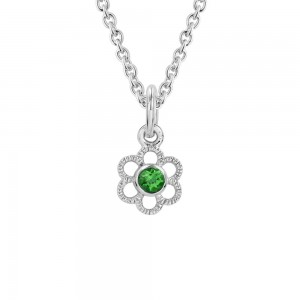 Girls Silver Synthetic Emerald May Birthstone Flower Necklace (14, 15 in)