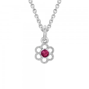 Girls Silver Synthetic Ruby July Birthstone Flower Necklace (14, 15 in)