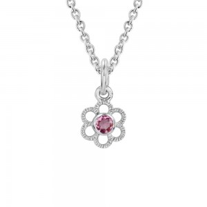Girls Silver Genuine Pink Tourmaline October Birthstone Flower Necklace (14, 15 in)