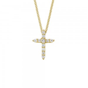 Children 14K Yellow Gold Diamond Cross Pendant Necklace For Girls (14, 15 in)