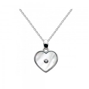 Girls Sterling Silver Mother of Pearl Diamond Heart Necklace (16-18 in)