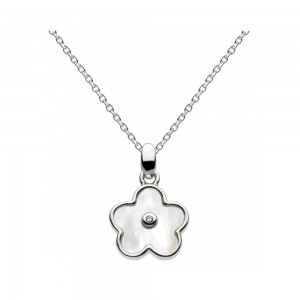 Girls Sterling Silver Mother of Pearl Diamond Flower Necklace (16-18 in)