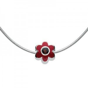 Girls Jewelry - Silver Flower January Birthstone Bead Necklace