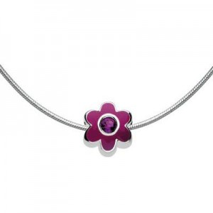Children Silver Flower February Birthstone Bead Necklace (14, 16, 18 in)