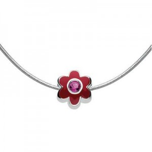 Child Silver Flower July Birthstone Bead Necklace (14, 16, 18 in)