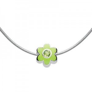 Child Silver Flower August Birthstone Bead Necklace (14, 16, 18 in)
