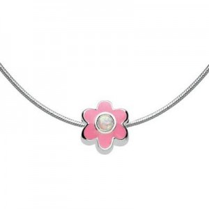 Kids Jewelry - Silver Flower October Birthstone Necklace