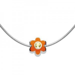 Child Silver Flower November Birthstone Bead Necklace