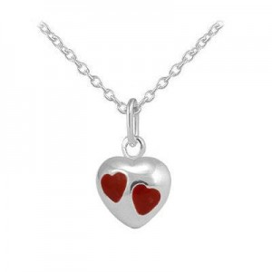 Girls Jewelry - Sterling Silver Red Enamel Heart Pendant Necklace (12-18 In)