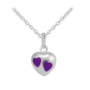 Girls Jewelry - Sterling Silver Purple Enamel Heart Pendant Necklace (12-18 In)