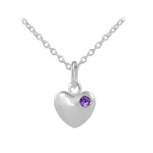12-18 In Children Or Teen Girls Silver February Birthstone Heart Necklace