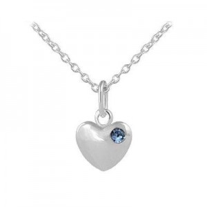 12-18 In Children Or Teen Girls Silver December Birthstone Heart Necklace