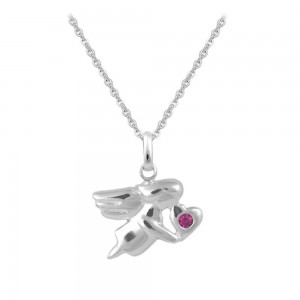 12-18 In Silver July Birthstone Children Angel Necklace For Girls