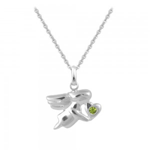 12-18 In Silver August Birthstone Children Angel Necklace For Girls