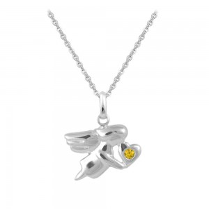 12-18 In Silver November Birthstone Children Angel Necklace For Girls