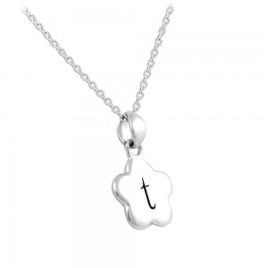 "Girl's Sterling Silver Initial ""T"" Flower Pendant Necklace (12,14 in)"