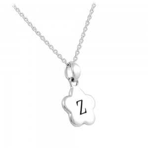 "Girl's Sterling Silver Initial ""Z"" Flower Pendant Necklace (12,14 in)"