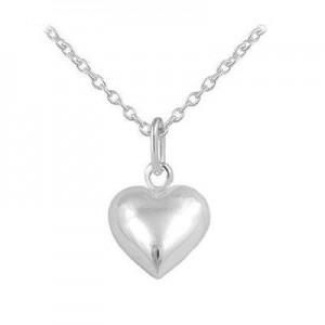 Kids And Teens Jewelry - Silver Puffed Heart Necklace For Girls (12-18 In)