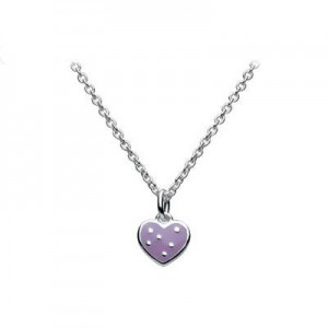 12-14 in Sterling Silver Kids Purple Heart Pendant Necklace For Girls